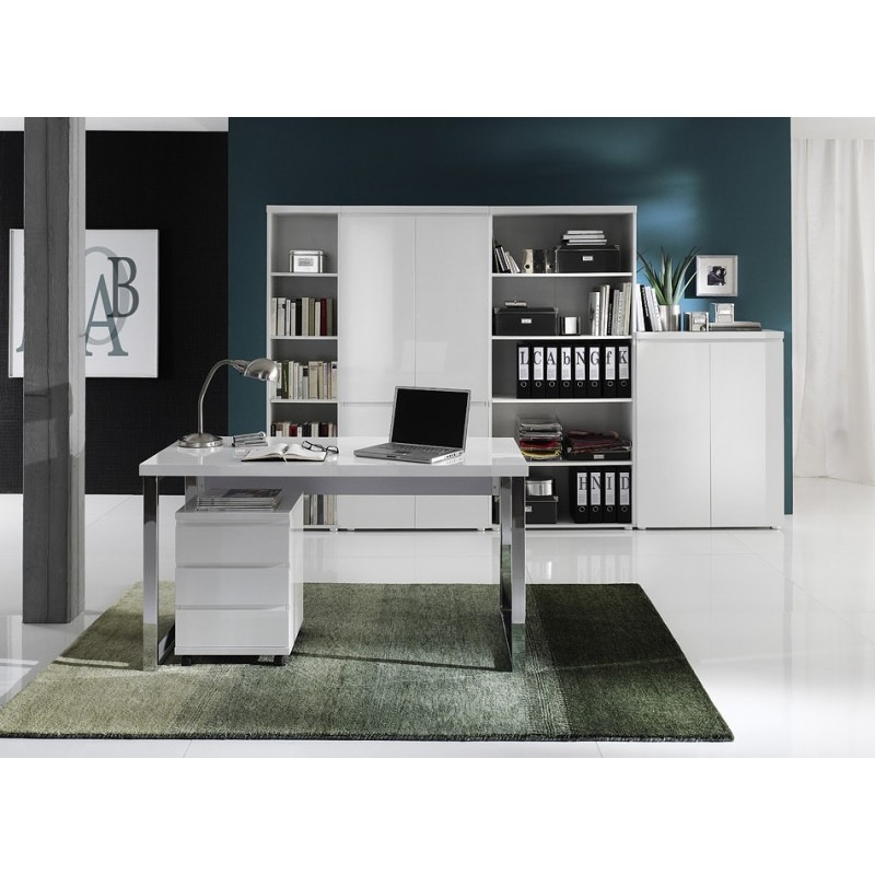 schreibtisch sydney weiss hochglanz topo. Black Bedroom Furniture Sets. Home Design Ideas